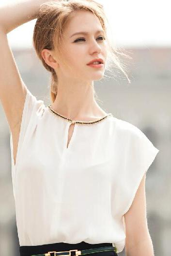 Primer shirt round neck short-sleeved chiffon blouses