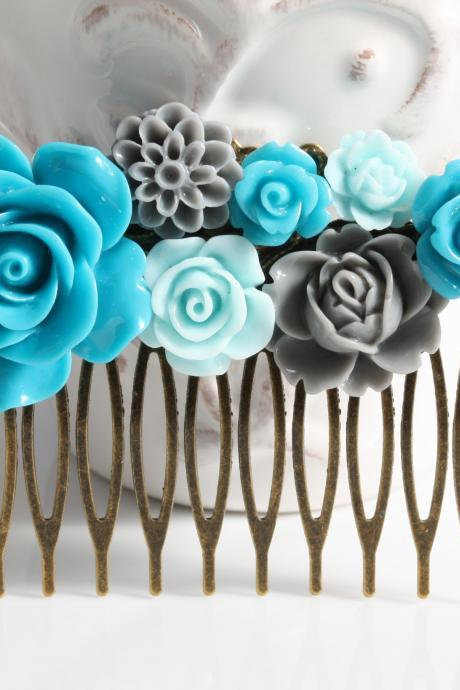 Wedding hair comb, teal, blue and grey flower hair comb, wedding hair accessories,Peacock blue wedding hair comb