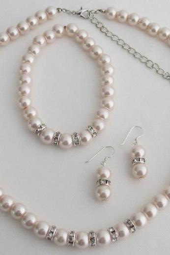 Blush Pink Pearl Rhinestones Necklace Earrings Bracelet Wedding Set
