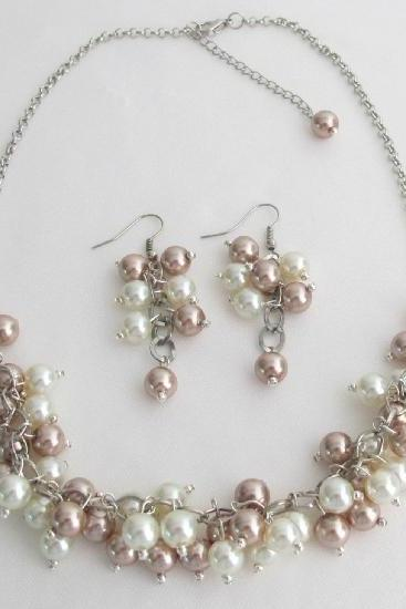 Champagne Ivory Cluster Necklace Earrings Wedding Bridesmaid Jewelry Set