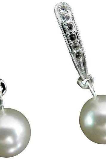 Lustrous 10mm White Pearl Wedding Jewelry