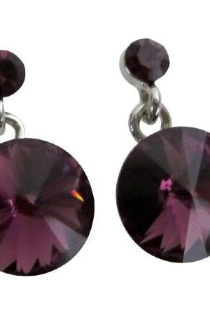 Amethyst Round Stud Earrings Sleek Maximum Brilliance