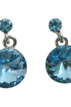 Celebrating The Power of Love Aquamarine Round Stud Earrings