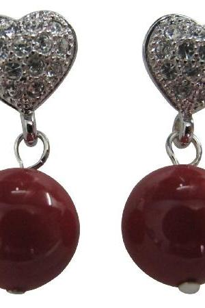 Prom Girl Jewelry Red Pearl Heart Post Earrings