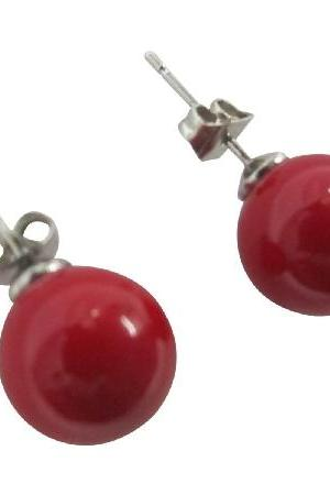 Oyster Pearl 10mm Stud Earrings in Red Color