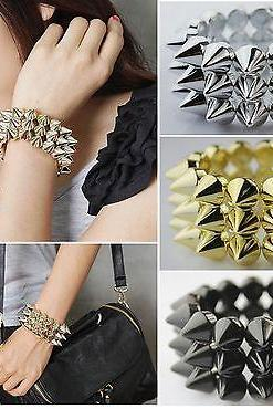 Women Men Gothic Rock Punk Rivet Studs 3 rows Spike Stretch Bracelet Cuff Bangle