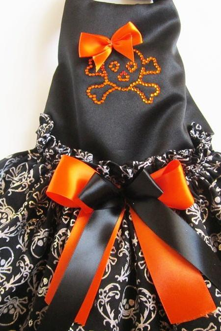 Halloween Dog Dress Skulls