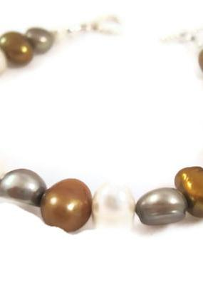Bracelet - Bronze, Silver, Cream Freshwater Pearls, Potato Shaped, Wedding Jewelry