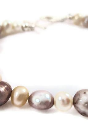 Bracelet - Freshwater Pearls, Flat Sided Potato, Flat Sided Round, Silver and Cream Pearl Bracelet, Wedding Jewelry