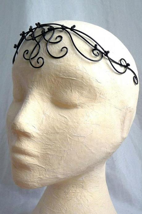 Black beaded circlet, handmade