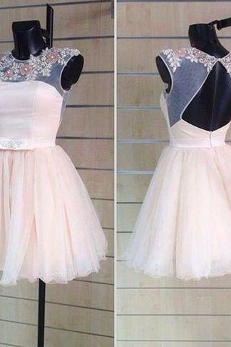 Custom Made A Line Round Neck Short Prom Dresses, Short Homecoming Dress, Graduation Dresses