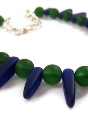 Necklace - Royal Blue Sea Glass, Bar Shaped or Spiked, Dark Green Beach Glass Necklace, Ocean Colors
