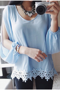 Chiffon long sleeve blouse mini-skirt