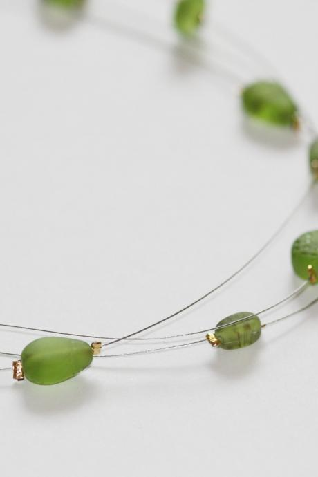 green glass ooak floating multi strand illusion necklace.
