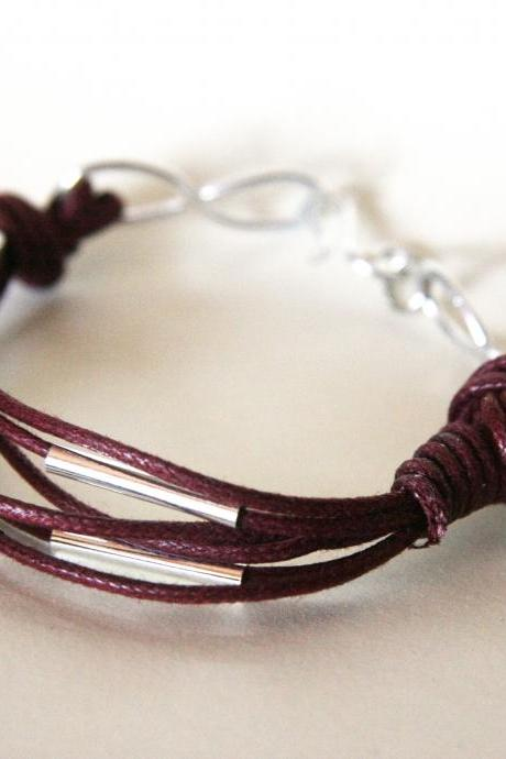 for him - metal and waxed cotton - burgundy wine and silver- men and unisex bracelet -