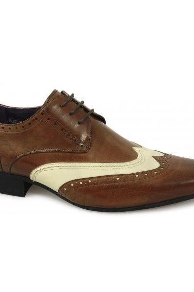HANDMADE MENS BROGUE BROWN AND WHITE LEATHER SHOES,MEN LEATHER SHOES, MEN SHOES