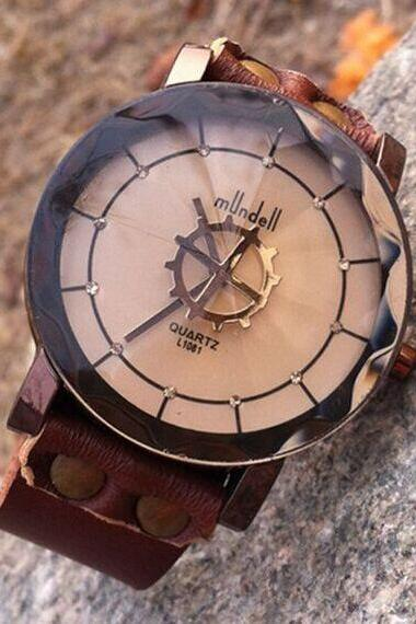 Retro Rinestone Leather Watch-Handmade Gear Watch Women Wristwatch Mens Leather Watch