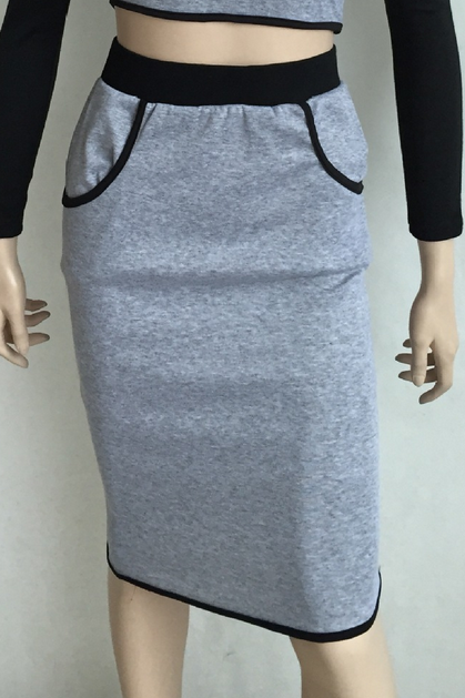 on sale CUTE TWO PIECE GREY SWEATER DRESS
