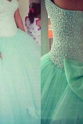 Mint Quinceaera dress , mint prom dress, ball gown, tulle prom dresses, cheap prom dress, prom dresses 2015, CM127