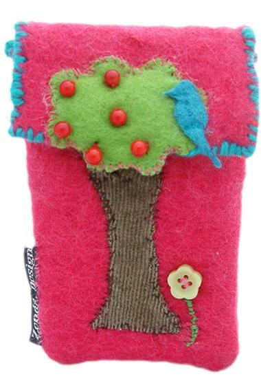 felt phone pouch-apple tree and blue bird
