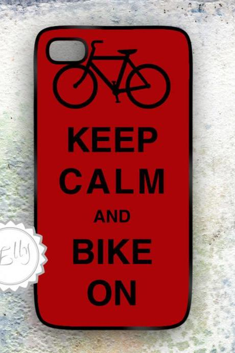 iPhone 4 /4S Case Keep Calm iPhone4 , iPhone 4S hard covers - blue bike on