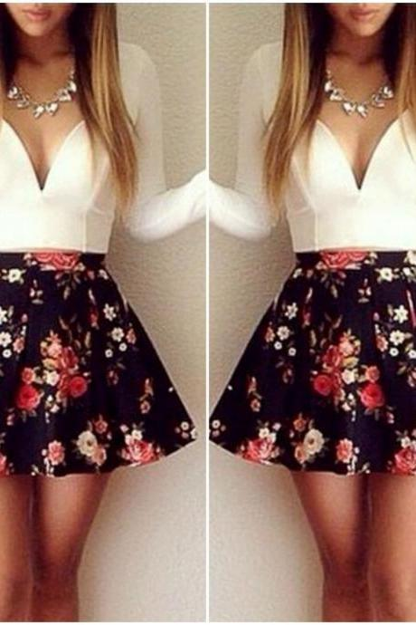 Gorgeous V Neck Floral Print Mini Dress