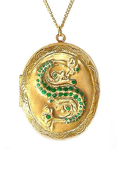 Harry Potter Slytherin Ornate Horcrux Locket with Gold Chain Necklace