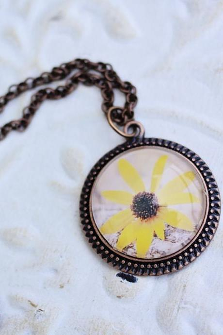 Black-eyed Susan Yellow Flower Copper Pendant
