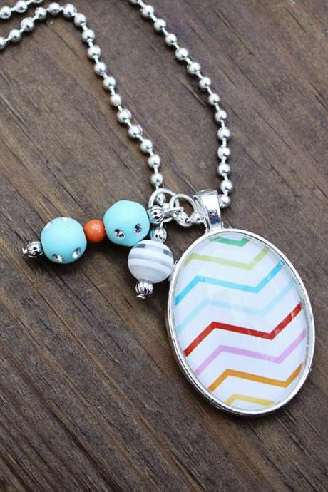 Rainbow Chevron Glass Pendant Necklace