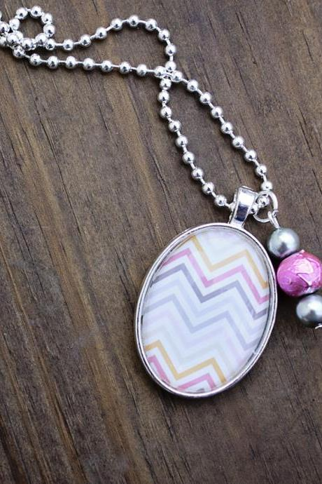 Pastel Chevron Glass Pendant Necklace