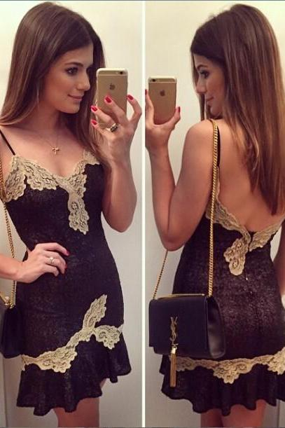 Golden Lace Stitching Backless Sexy Lace Dress NFGD