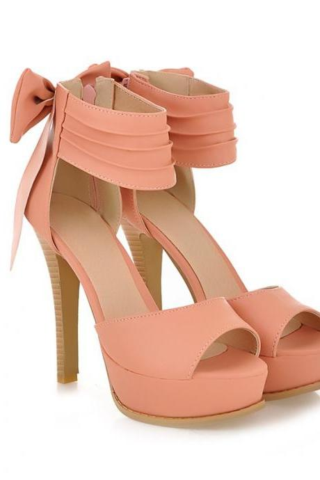 Peep-toe ankle-strap Platform Pumps featuring Side Zipper and Bow Accent