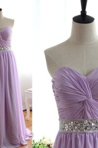 Sweetheart Ruffles Beadings Prom Dress,A Line Long Evening Prom Gown Lavender Chiffon Full Length Bridesmaid Dress Formal Women Dresses