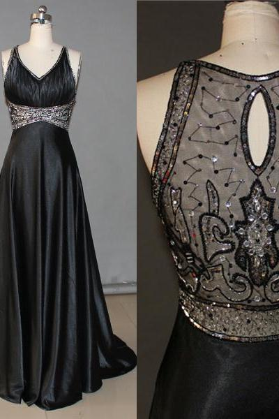 Sexy See Through Black Long Prom Dress, V Neck Off The Shoulder Crystal Formal Evening Prom Dresses,Sleeveless Open Back Evening Gowns,Empire Waist Formal Prom Gown