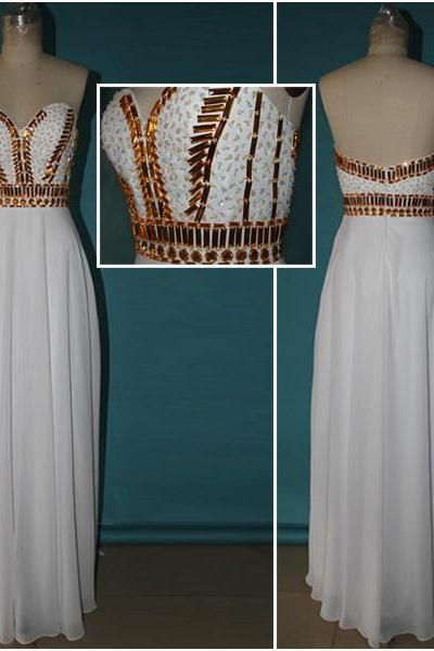 Custom Made Gold Beadings White Chiffon Long Prom Dress,Sweetheart Neckline Formal Dresses Prom,Real Picture 2015 Evening Prom Gown,Graduation Dress