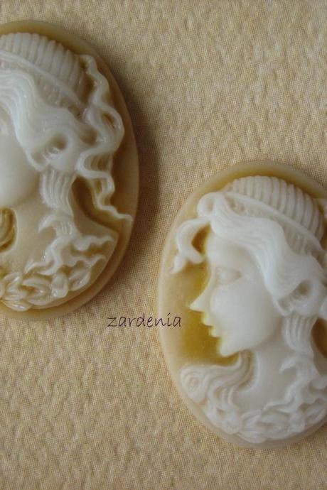 2PCS - Oval Lady Cameos - Caramel - 24x18x5mm
