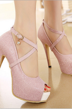 Sexy sequined shoes, fish head high heels shallow mouth fine--pink