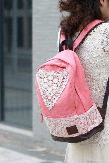 Pink Backpack With Lace