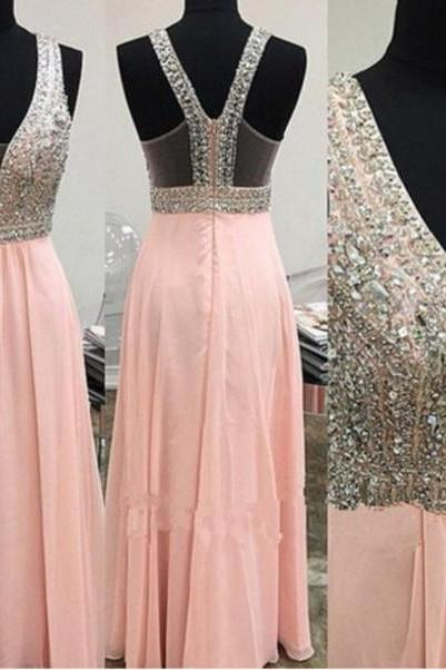 Custom Made A Ling Long Pink Prom Dresses, Long Pink Formal Dresses