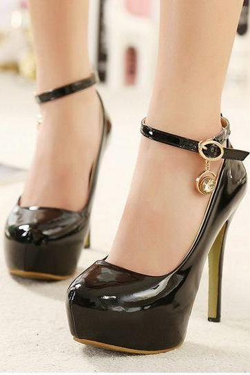 Black Patent Leather Rounded Toe Stiletto Pumps with Diamond Charm at Ankle Straps