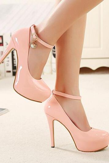 Pink Patent Leather Rounded Toe Stiletto Pumps
