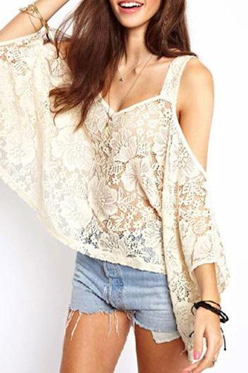 Chic White Strap Design Half Sleeve T Shirt