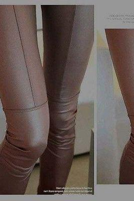 New Sexy Ladies Fashion 2 colour Women Faux Leather Pants Trouser Tights