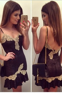 Golden lace stitching backless lace sexy condole belt in Europe and the us dress dress 321