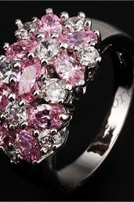 Pink Sapphire Ring 10K White Gold Filled Size 7