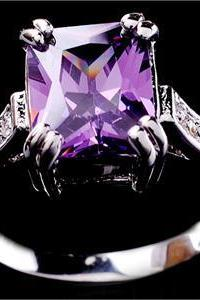 Amethyst Austrian Crystal Ring 10K Gold Filled Size 7