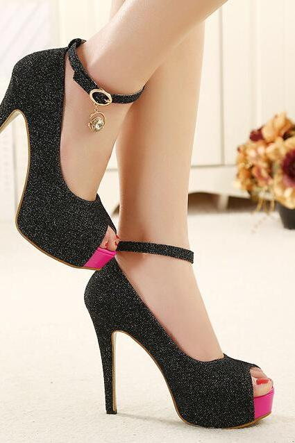 Black Peep toe Charmed High Heel Shoes