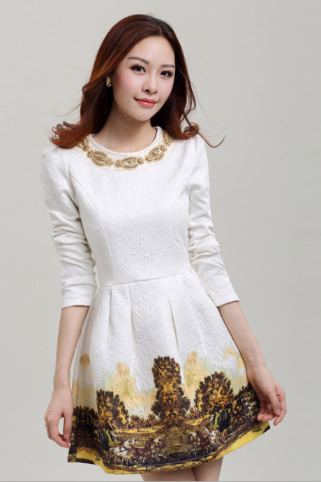 2015 the European and American luxury diamond nail bead neckline jacquard contracted dress