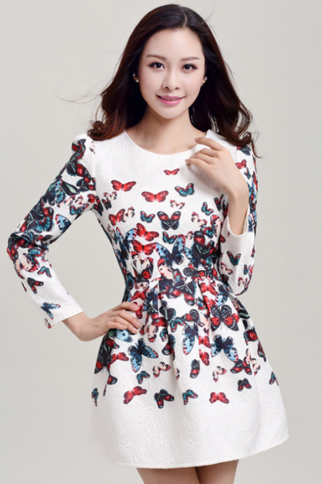 2015 white printing render of bitter fleabane bitter fleabane skirt butterfly print dress
