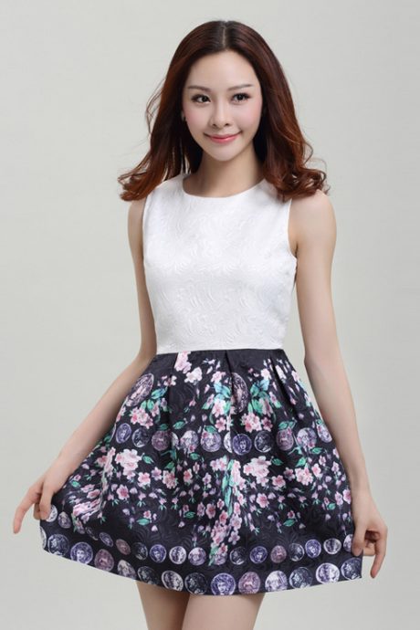 2015 printed fashion lady's dress